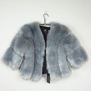 Jackets & Blazers - Grey faux fur 3/4 sleeve fluffy jacket